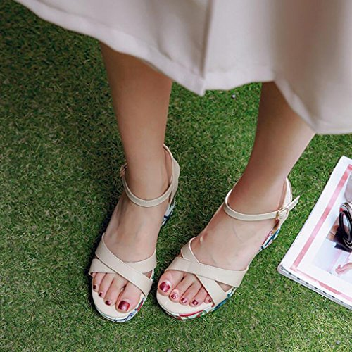 Scarpe Suola Moda Tacchi Colore donne Stampa JIU Estate Pendenza Beige CN37 sandali 5 In 5 Da Spessa Tomaia Femminile EU37 Amato dimensioni dalle Donna UK4 PU Sandali Blu Alti Aw7Azq0