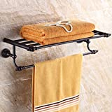 Sunhai&Light Antique Towel Rack All Bronze Black Towel Rack Shower Room Bathroom Shelving Hardware Pendant
