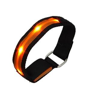 TOOGOO(R) Brassards Reflechissant Reglable en Nylon LED Clignotant Haute Visibilite pour la securite Cyclisme de Jogging Course et a Pied-Bleu
