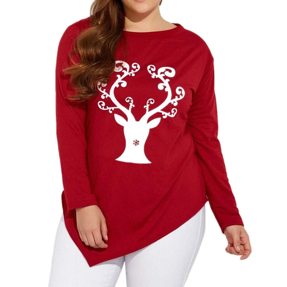 IZHH Christmas Sweater, Ladies Long Sleeve Strapless Sweatshirt Printed Tops Blouse Design Snowflake Tops IZHH-Christmas blouse