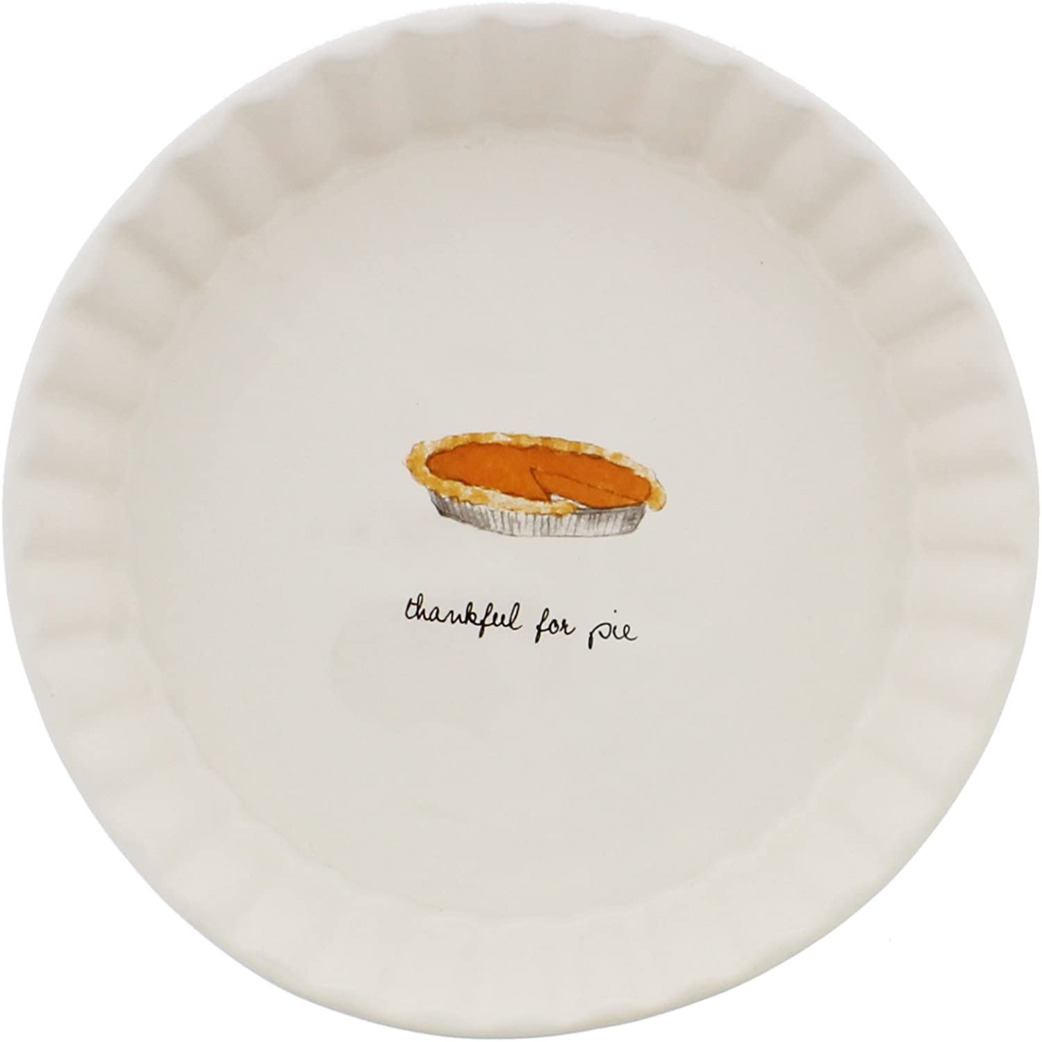 Rae Dunn By Magenta Thankful For Pie Scalloped Pie Plate Dish Kitchen Dining