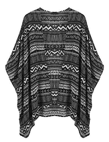 Grabsa Women's Flowy Sheer Crop Sleeves Loose Chiffon Kimono Cardigan Blouse Top