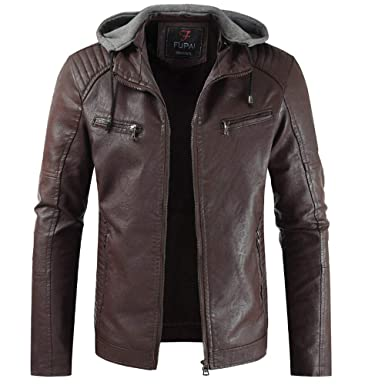 Herren New Style Revers Kapuze Lederjacke Plus Dicken Mantel