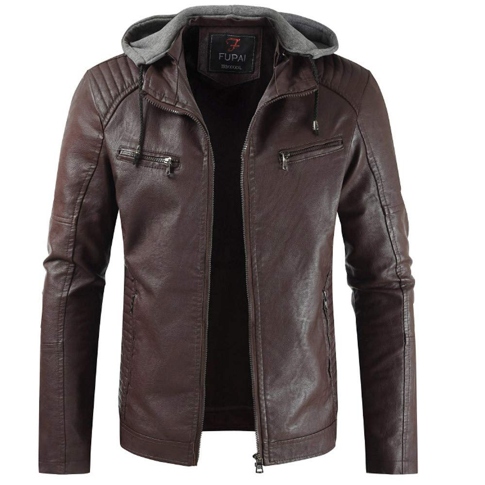 G-Real Fashion Men Autumn and Winter Leather Motorcycle Jacket Plus Thick Coat with Removable Hood