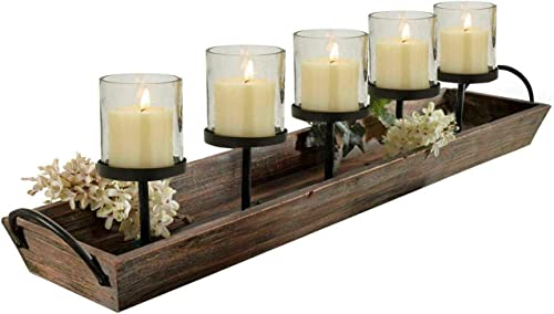 Westcharm 27.5 in. Rustic Wood Candle Centerpiece Tray w/Five Metal Candle Holder