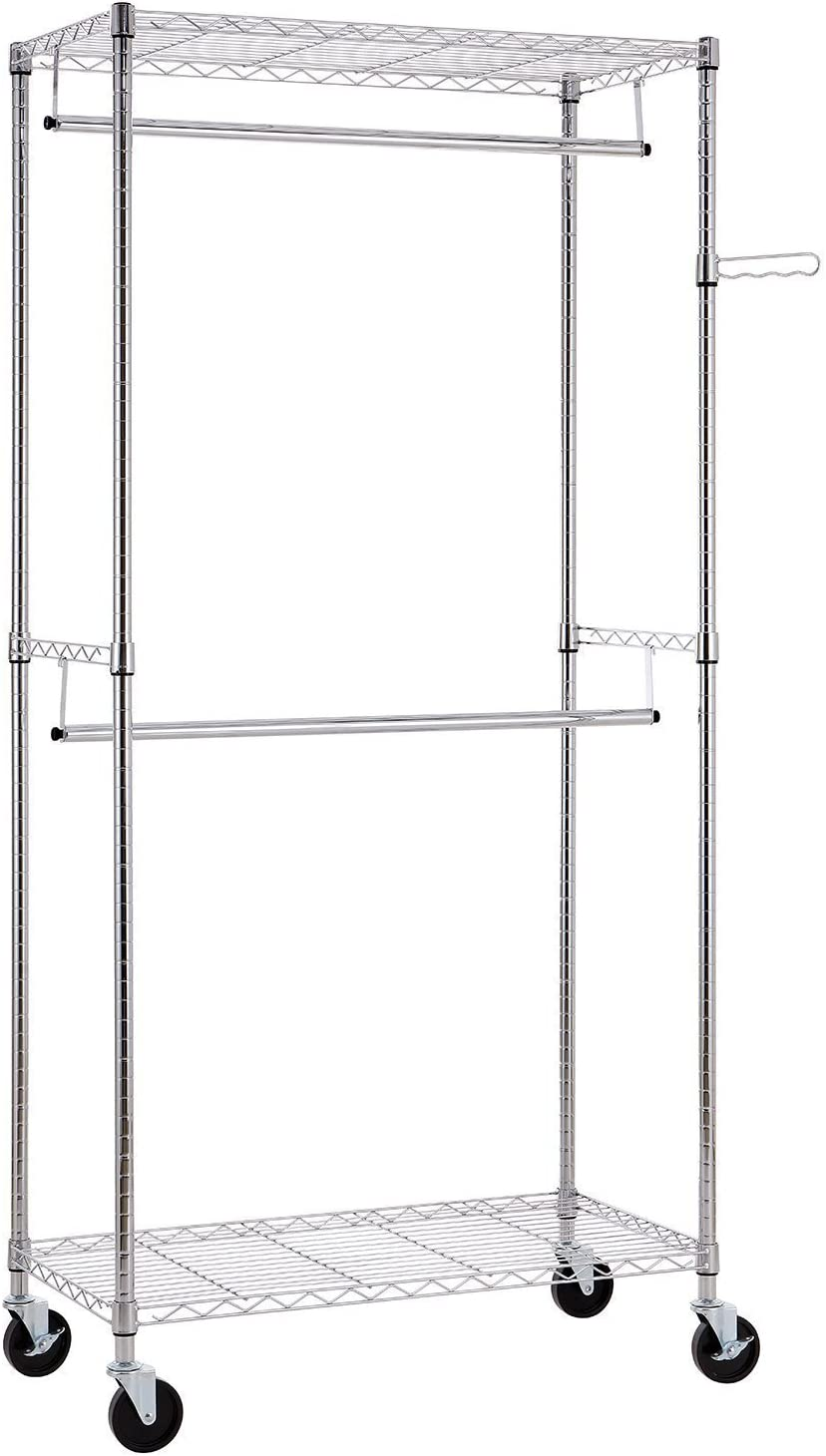 Finnhomy Heavy Duty Rolling Garment Rack Clothes Rack with Double Hanger Rods and Shelves, Portable Closet Organizer with Wheels, 1″ Diameter Thicken Steel Tube Hold Up to 300Lbs, Chrome