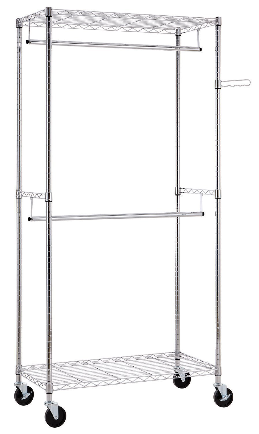 Finnhomy Heavy Duty Rolling Garment Rack Clothes Rack With Double Hanger  Rods And Shelves, Portable Closet Organizer With Wheels, 1u2033 Diameter  Thicken Steel ...