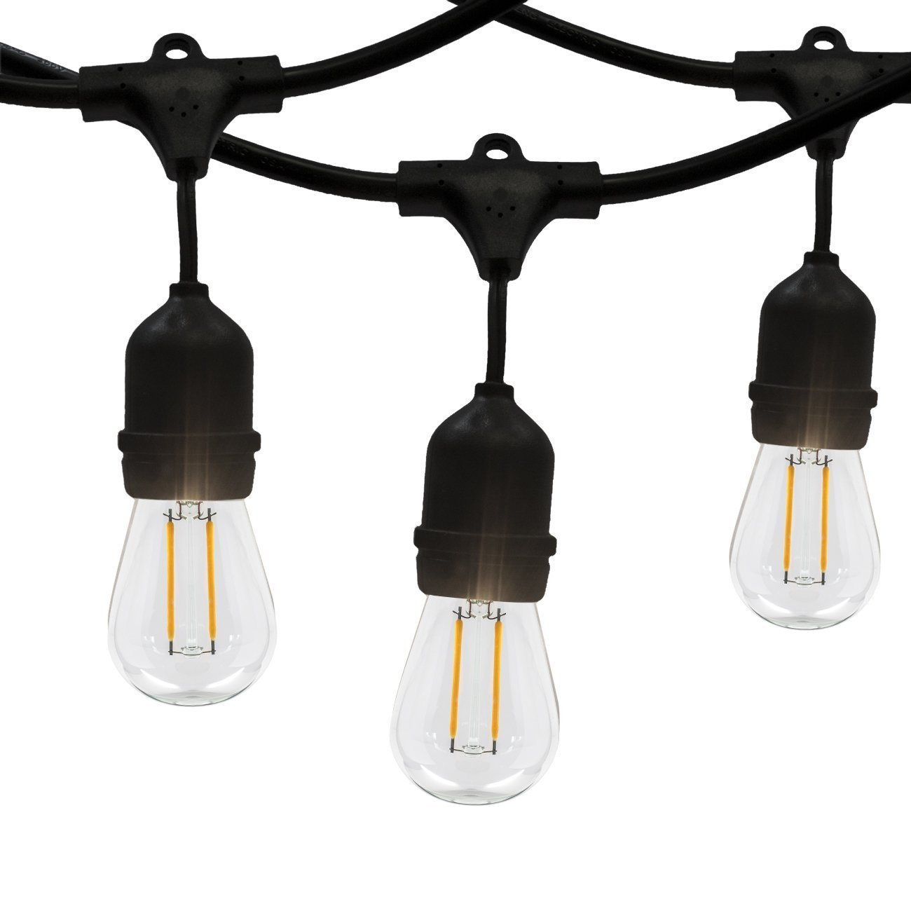 Outdoor String Lights,WONFAST Commercial Weatherproof E26 Edison Bulbs Style 23-Feet LED String Lights with S14 12 Bulbs and 12 Sockets