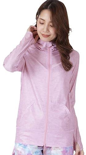 ICEPARDAL(アイスパーダル)全20色レディース無地ラッシュガードパーカーIR-7100杢パープルWMサイズUPF50+長袖ラッシュパーカー指穴つき体型カバー女性用水着おしゃれかわいい人気パープル紫パステル杢柄