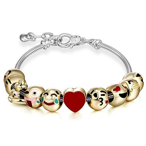 92759f7b1 Amazon.com: Cute Emojis Charm Bracelet Adjustable Chain Emoji ...