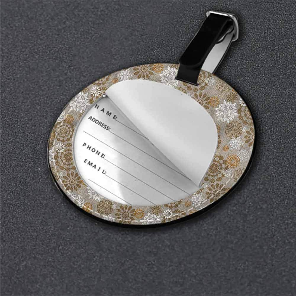 Round Leather Luggage Floral,Ornament Flower Colorful Id Tag Suitcase Carry