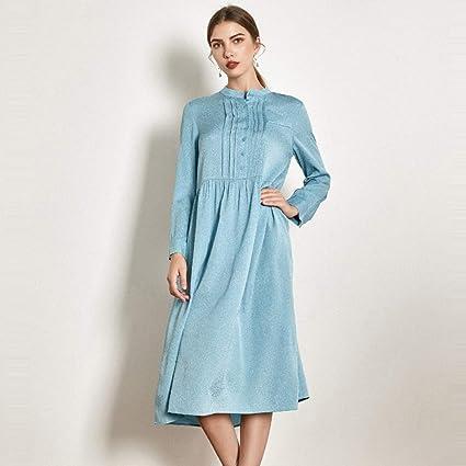 Vestido Vestido de Novia Falda Larga Azul Claro Vestido de Seda ...