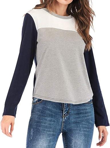 Camiseta de Mujer de Moda Casual de Manga Larga para Mujer de Oficina con Cuello en O Camisa 3 Colores: Amazon.es: Ropa y accesorios