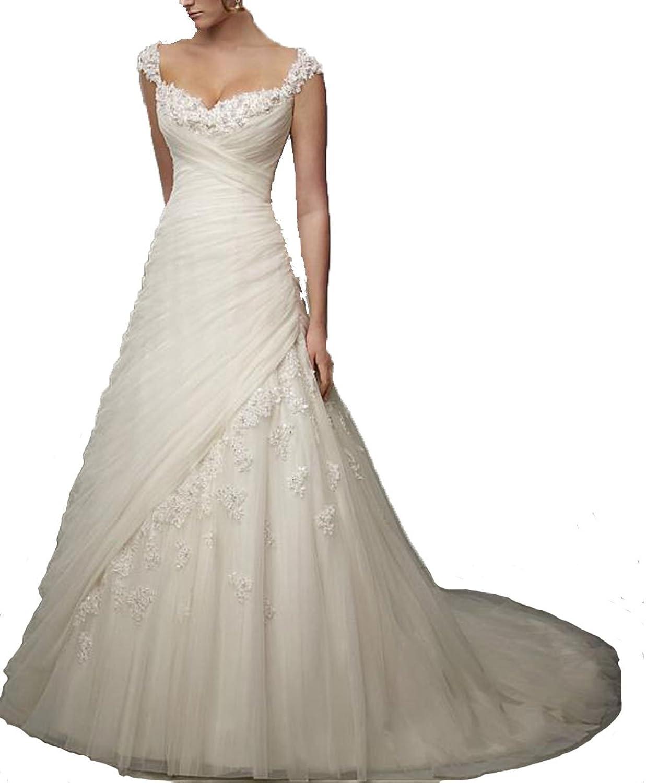Fanciest Women's Cap Sleeve Flowers Tulle Lace Wedding Dresses for Bride 2016 White