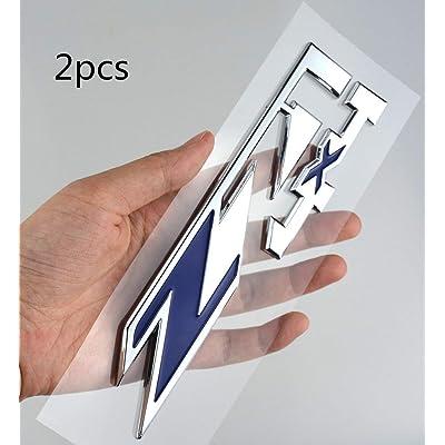 2 Pack Z71 4x4 Emblems Badges Compatible for GMC Chevy Silverado Sierra Tahoe Suburban 1500 2500hd 3500hd Decal (Chrome/Blue): Automotive
