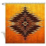 CafePress Native Style Orange Sunburst Decorative Fabric Shower Curtain (69''x70'')