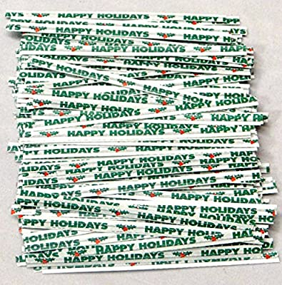 "Happy Holiday Paper Twist Ties 100 Count 3 1/2"" Length Candy Making Supplies"
