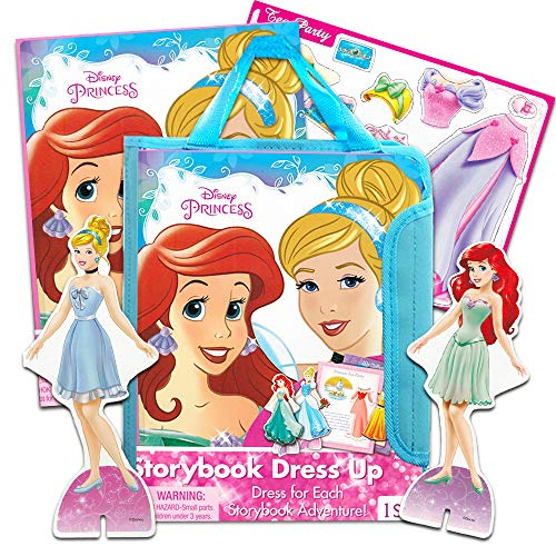 Disney Princess Magnetic Dress Up Dolls for Toddlers Kids -- Cinderella Dress-Up Doll, Ariel Dress-Up Doll, Scenery Book, 30 Magnetic Pieces, Carry Tote and ()