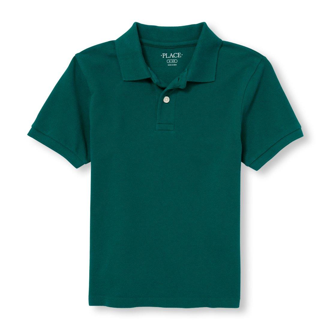 The Children's Place Big Boys' Uniform Short Sleeve Polo, African Rainforest 00602, S (5/6)