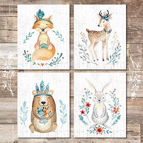 Woodland Animals Nursery Wall Art Prints (Set of 4) - Unframed - 8x10s