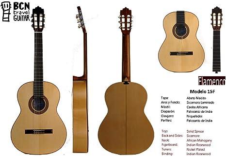 BCN Travel Guitar 15F Guitarra Flamenca española desmontable para ...