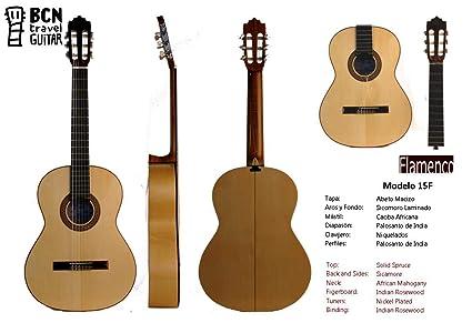 BCN Travel Guitar 15F Guitarra Flamenca española desmontable para viaje