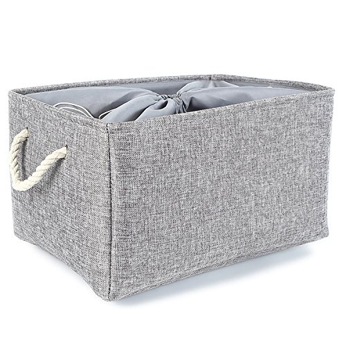 TheWarmHome Foldable Jumbo Fabric Storage Bins Grey Basket for Gifts Empty (18.9×15×11.8 inch)