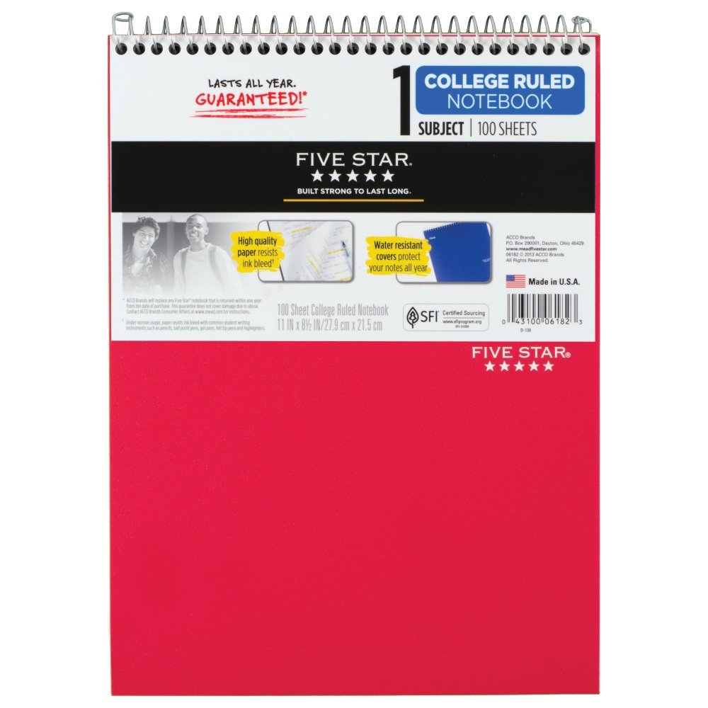 Rediform office products subject wirebound notebook wide - Amazon Com Five Star Top Bound Notebook 1 Subject College Ruled Paper 100 Sheets 11 X 8 1 2 Color Will Vary 06182 Office Products