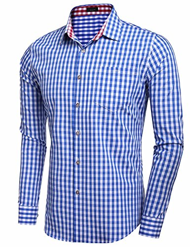 Vansop Mens Long Sleeve Slim Fit Plaid Checkered Casual Button-down Shirt at Amazon Mens Clothing store: