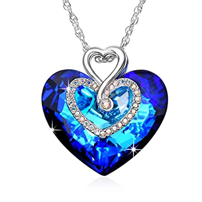 Alantyer Everlasting Love Ocean Blue Heart Necklace with Austrian Sapphire  Crystal Pendant for Women and Girls 1c4bbe4e346e