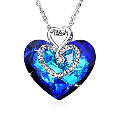 2ac1767a2e81 Alantyer Collar Mujer Azul Corazon Collares Colgante con Cristales  Swarovski