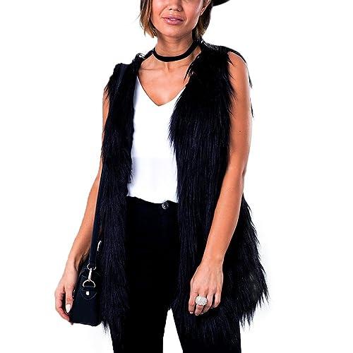 iBaste Chaleco de Pelo Mujer Modelo Medio y Largo Sin Cuello Sobretodo Chaqueta de Pelos Negro Pelo ...