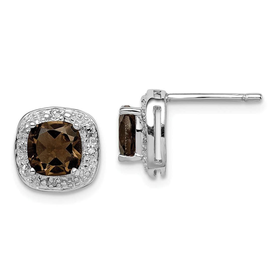 925 Sterling Silver Rhodium-plated Smoky Quartz Post Earrings