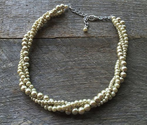 Sale Bronze Champagne Three Strand Twisted Pearl Necklace 21 Hypoallergenic Nickle Free