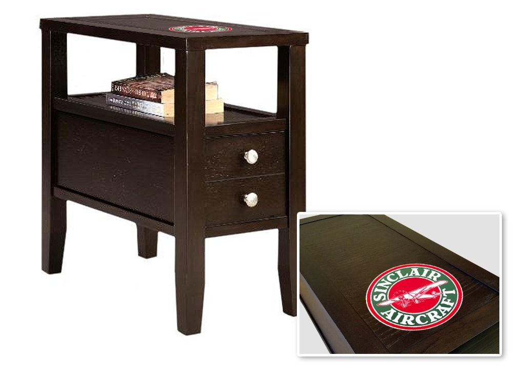 New Cappuccino / Espresso Finish Wooden End Table Night Stand with Drawer with Sinclair Aircraft Theme!