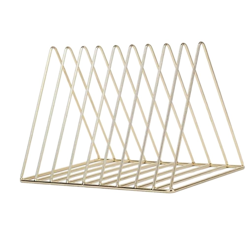 Homyl Modern Style Metal File Organizer Triangle Iron Desktop Storage Rack Bookshelf Magazine Holder - Gold, 26x17.8