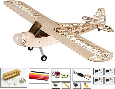 RC Aeroplano Balsa Madera Avión Wingspan 1180 mm J3 Kit + Sistema de alimentación + Cubierta S0804B: Amazon.es: Juguetes y juegos