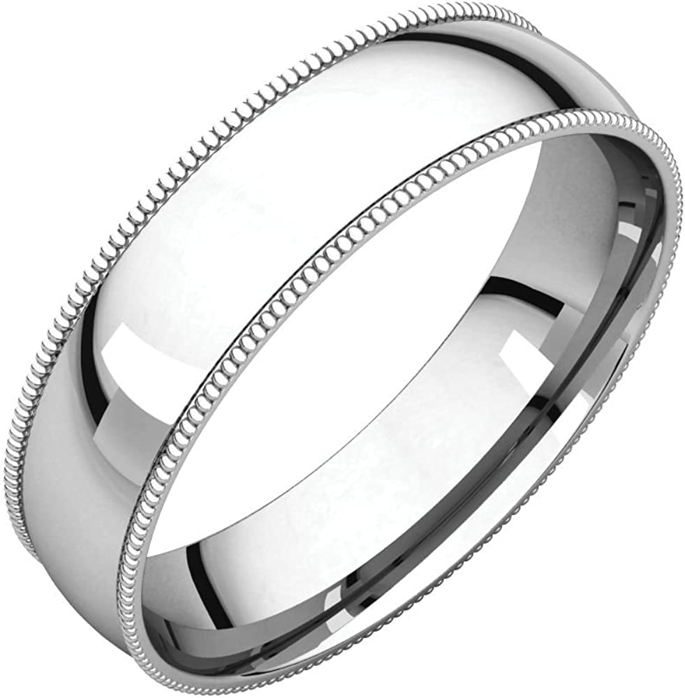 Jewels By Lux 10K White Gold 5mm Flat Edge Bridal Wedding Ring Band