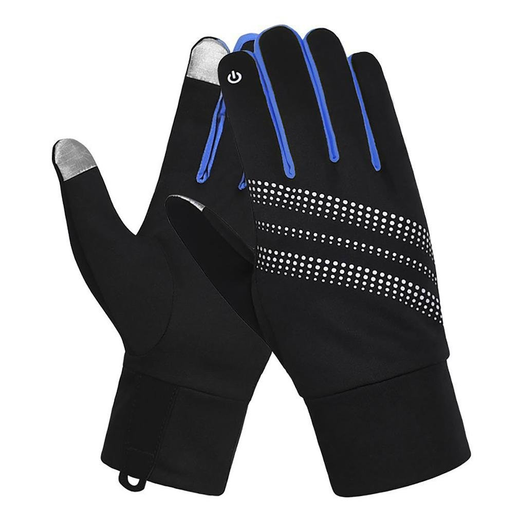 7-Mi Unisex Glove Reflective Design Winter Running Cycling Biking Gloves Touch Screen Outdoor/Indoor Sports Gloves Windproof Gloves Men Women S/M Blue