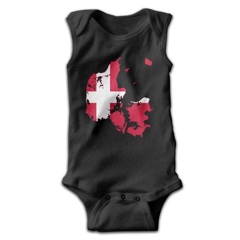 braeccesuit Flag Map Denmark Baby Newborn Crawling Clothes Sleeveless Romper Bodysuit Onesies Jumpsuit Black