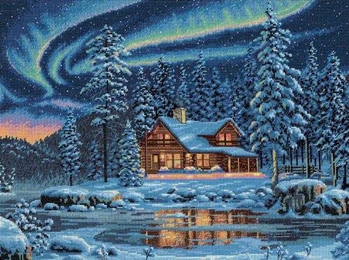 Dimensions(R 16 Inch x12 Inch Counted Cross Stitch - Aurora Cabin