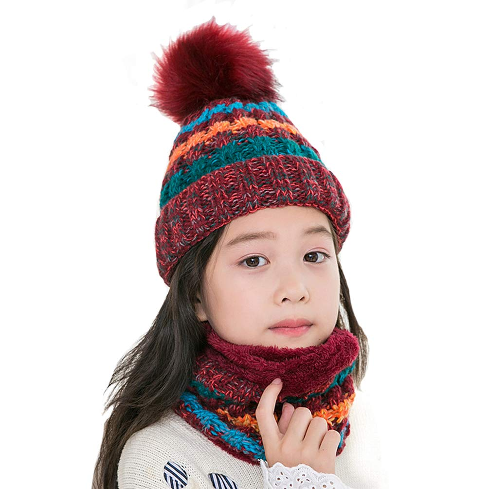 Rgslon Boys Girls Winter Knit Hat with Scarf Set Toddler Warm Cap and Neck Gaiter For Children (Pink)