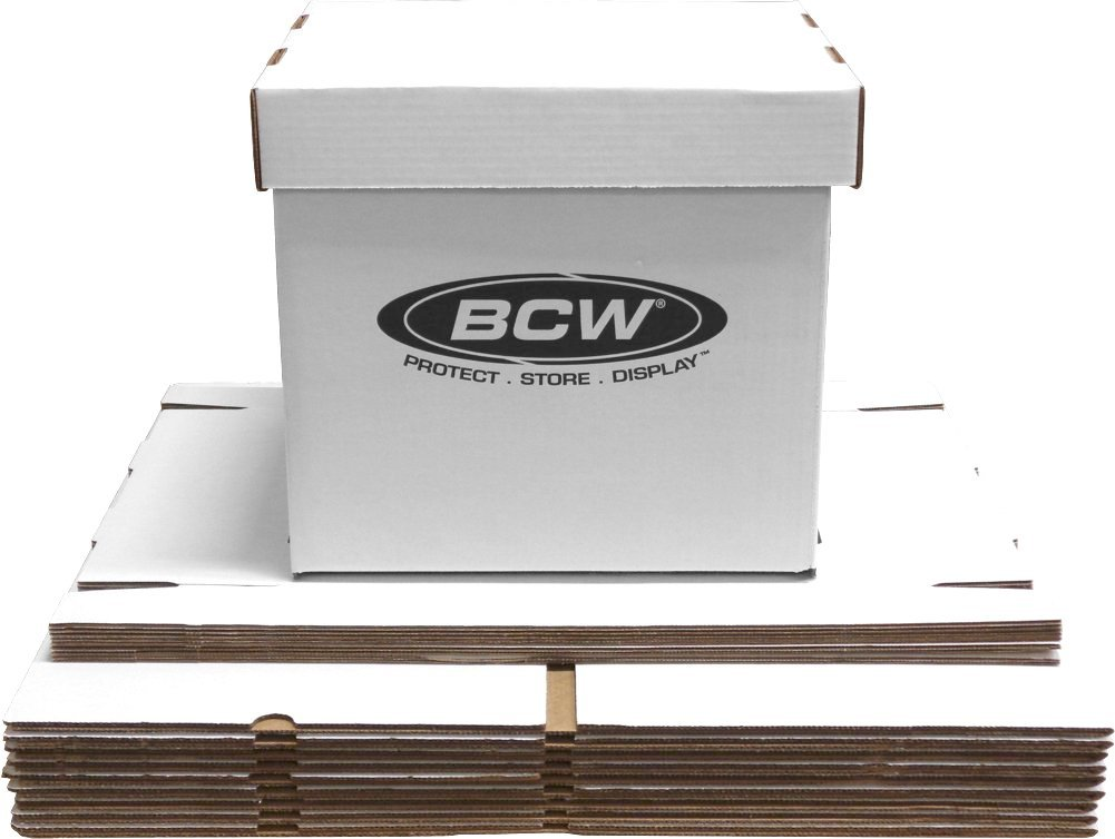 BCW-BX-33RPM-BOX - 12'' Record Album Storage Box with Removable Lid - Holds Up to 65 Vinyl Records - White - (20 Boxes)