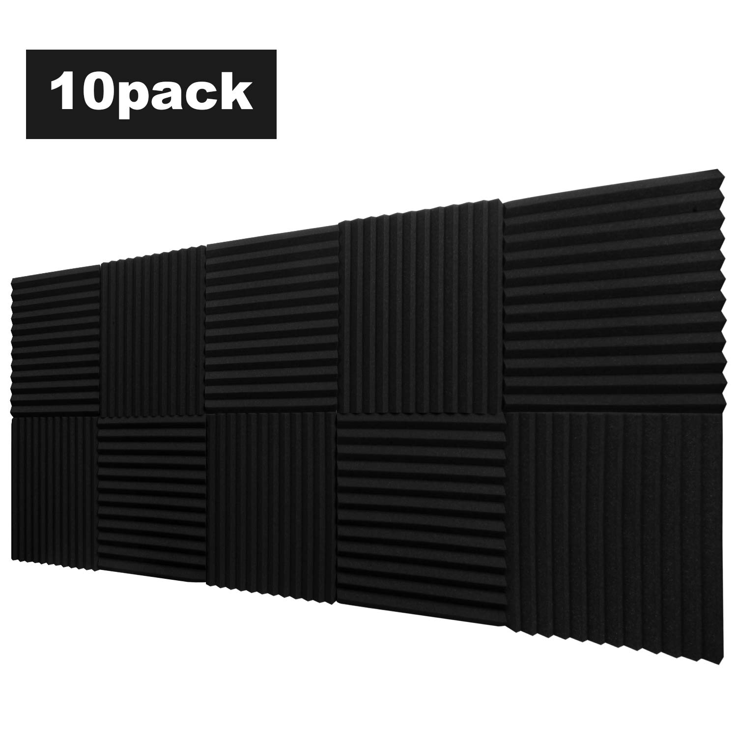 10 Pack,Acoustic Panels Studio Foam Wedges 1'' X 12'' X 12'',Sound-proofing,Sound Absorption,Flame Retardant(Black)