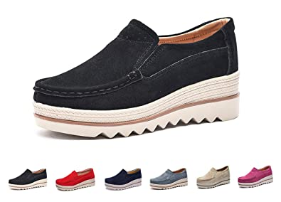 22b24f8c237 Eagsouni Women Platform Slip On Loafers Comfort Suede Casual Moccasins Low  Top Mid Heel Wedge Penny