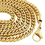 Niv's Bling - 18K Gold Plated Stainless Steel Franco Chain – Gold Hip Hop Necklace, 4mm, 30 Inches