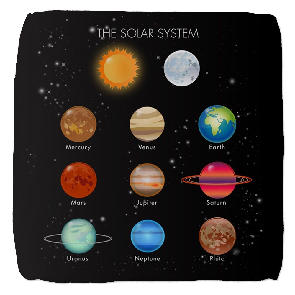 13 Inch 6-Sided Cube Ottoman Solar System Sun Moon and Planets
