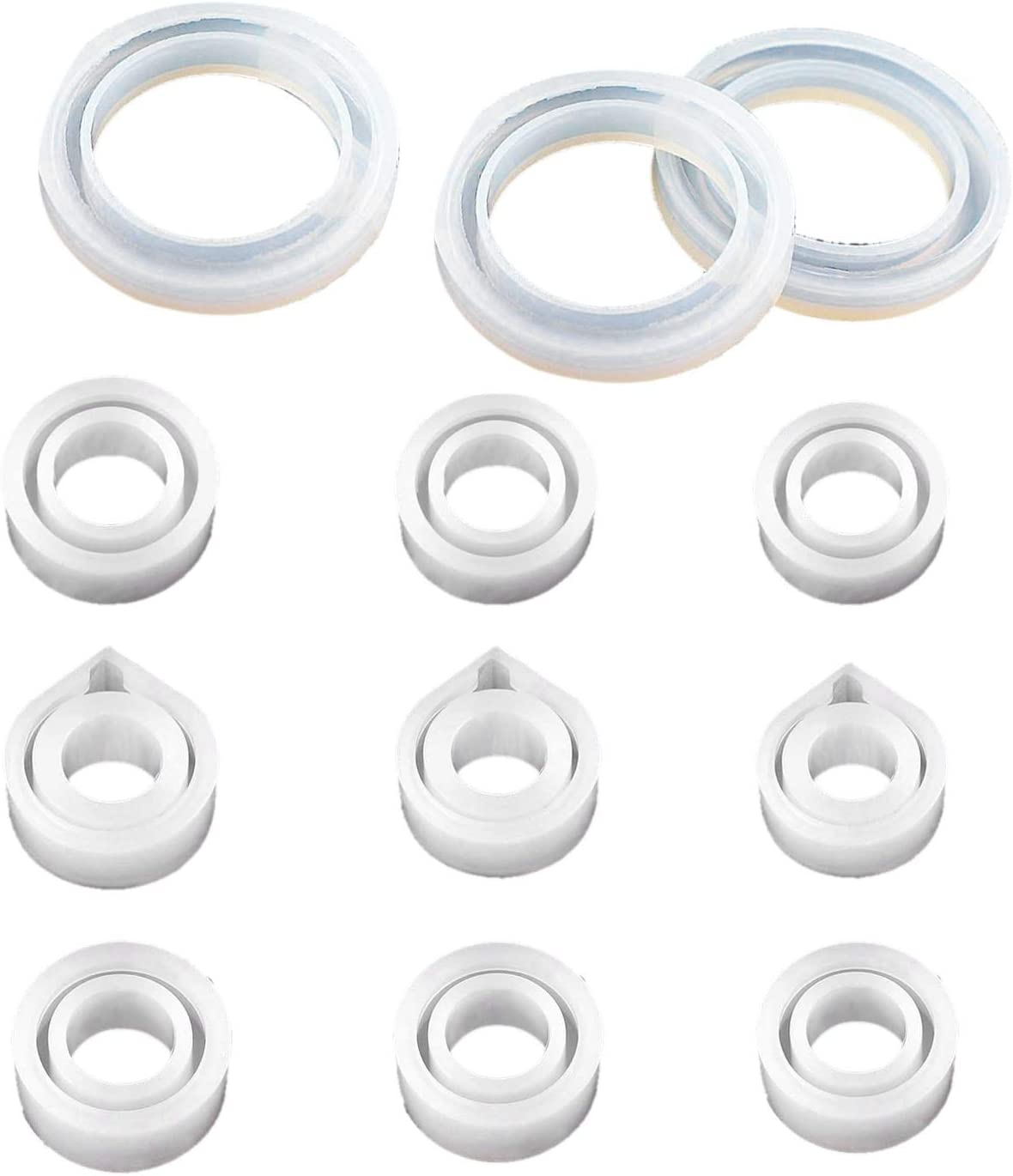 Timagebreze Jewelry Casting Molds 12 Pieces Silicone Ring Molds Silicone Resin Sphere Mold for Bracelet Rings Jewelry Pendant Making and Crafting