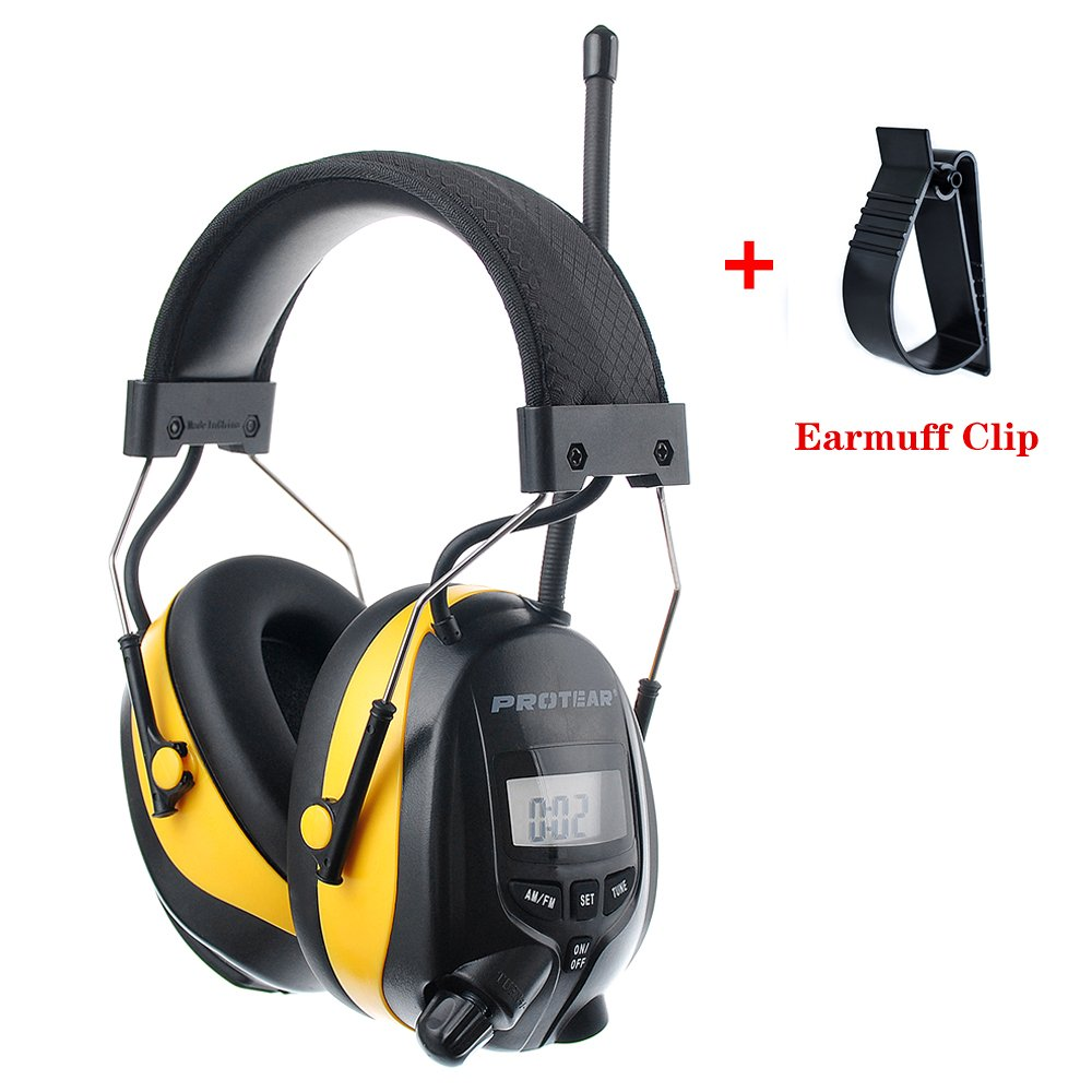 PROTEAR Digital AM FM Radio Hearing Protection Headphones with MP3 Compatible - Adjustable NRR 25dB Noise Reduction Safety Ear Muffs for Working Lawn Mowing Construction,with a Ear Muff Clip