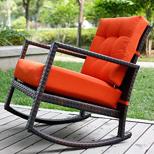 Merax Cushioned Rattan Rocker Chair Rocking Armchair Chair Outdoor Patio Glider Lounge Wicker Chair Furniture with Orange Cushion